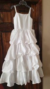 White bubble ruffle flower girl communion dress 12